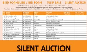 Biedformulier Tulip Holstein Sale Silent Auction